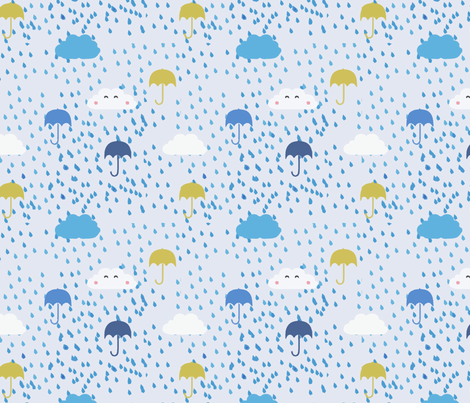 Umbrellas & Raindrops fabric by pixabo on Spoonflower - custom fabric