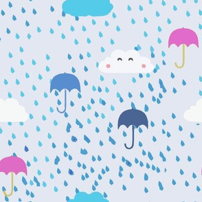 Pink Umbrellas and Raindrops