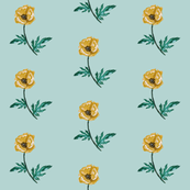 Poppy Yellow on Blue Grey