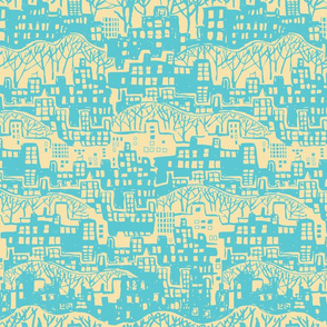 Cityscape teal and yellow