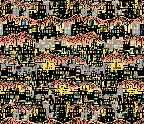 Cityscape Multi Color fabric by vinpauld on Spoonflower - custom fabric