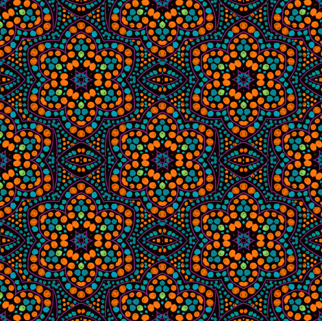 Dot Bloom, Orange fabric by eclectic_house on Spoonflower - custom fabric