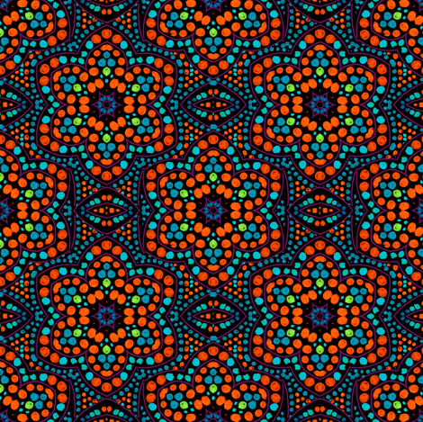 Dot Bloom Red-Orange fabric by eclectic_house on Spoonflower - custom fabric