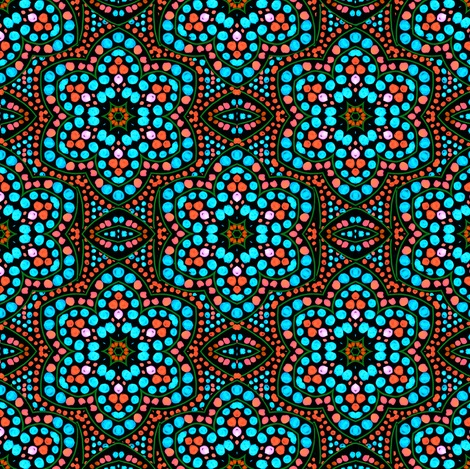 Dot Bloom Aqua fabric by eclectic_house on Spoonflower - custom fabric