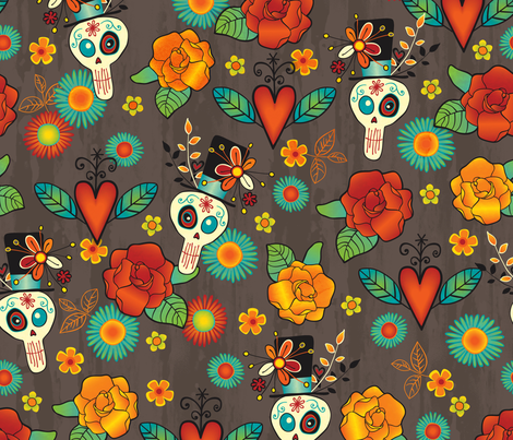 Dia de los Muertos fabric by jennartdesigns on Spoonflower - custom fabric