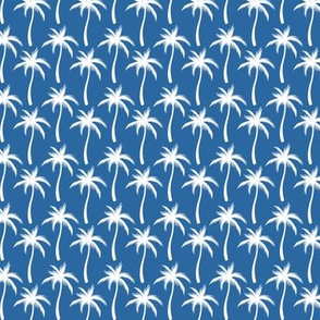 Palm Trees White On Blue