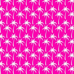 Palm Trees White On Pink #2