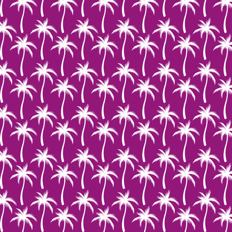 Palm Trees White On Purple #3 fabric by ornaart on Spoonflower - custom fabric
