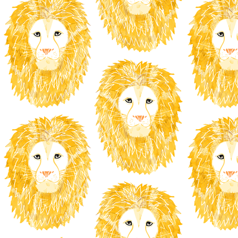 Watercolor Lion Head fabric by emilysanford on Spoonflower - custom fabric
