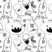 crayon monsters b&w