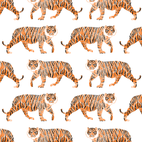 Watercolor Tiger fabric by emilysanford on Spoonflower - custom fabric