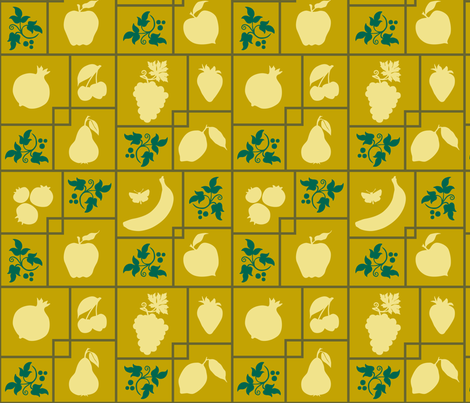 VR_bearing_fruit_green_gold fabric by brandbird on Spoonflower - custom fabric