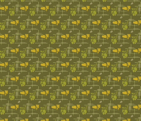 VR_berry_lovely_green_gold fabric by brandbird on Spoonflower - custom fabric