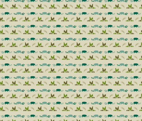 VR_farm_fresh_green_gold fabric by brandbird on Spoonflower - custom fabric
