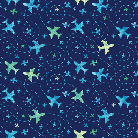 Fun Airplanes On Dark Blue Sky fabric by oksancia on Spoonflower - custom fabric