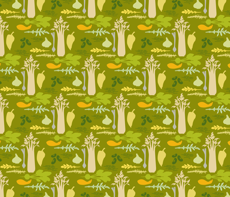 VR_get_cooking_green_gold fabric by brandbird on Spoonflower - custom fabric