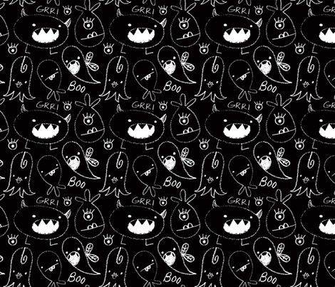 crayon monsters blk fabric by shindigdesignstudio on Spoonflower - custom fabric