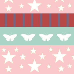 Magic-butterflies white LG - pink