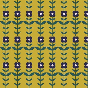 floral stripe - gold