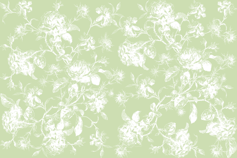 Emma's Wild Rose Bouquet in Basil Green fabric by lilyoake on Spoonflower - custom fabric
