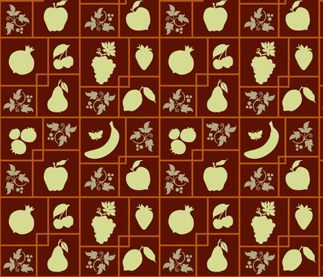 VR_bearing_fruit_gree_rust fabric by brandbird on Spoonflower - custom fabric
