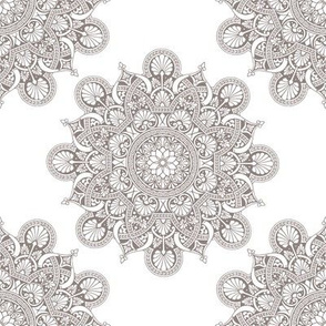 fortune mandala taupe #8f837f white ground