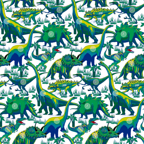 ClockAsaurus! Your Time's Up! fabric by house_of_heasman on Spoonflower - custom fabric