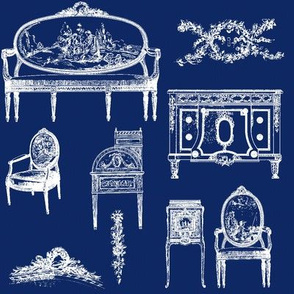 Louis XV Style white on Ink blue
