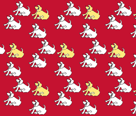 Balloon Man: That Cute Dog on Red fabric by kimruss@thatcatart on Spoonflower - custom fabric