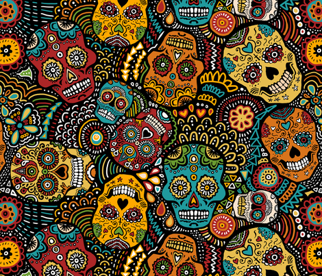 Mexican Sugar Skulls (small) fabric by lusykoror on Spoonflower - custom fabric