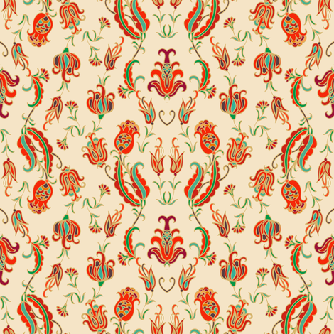 Turkish tulips ornament fabric by dariara on Spoonflower - custom fabric