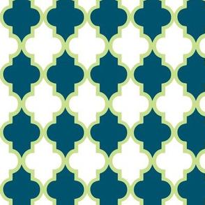 Green Apple and Navy Quatrefoil
