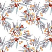 Gumnuts & Blossoms IV Rust, Marigold, Silver