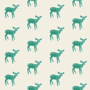 Dear Deer in Green on Cream