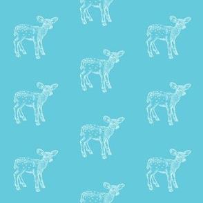 Dear Deer in Bright Blue
