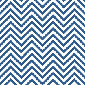 Thin Chevrons - Cobalt on White