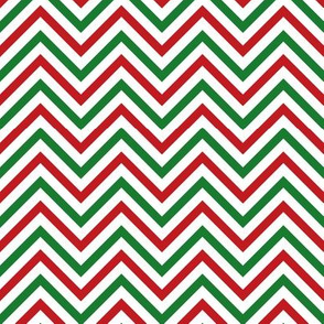 Thin Chevrons - Red and Green on White