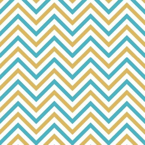 Thin Chevrons - Blue and Gold on White