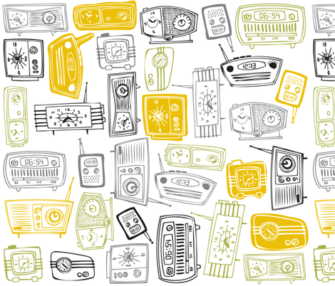 TIME to get RETRO fabric by tonia_dee on Spoonflower - custom fabric