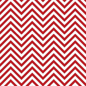 Thin Chevrons - Red on White