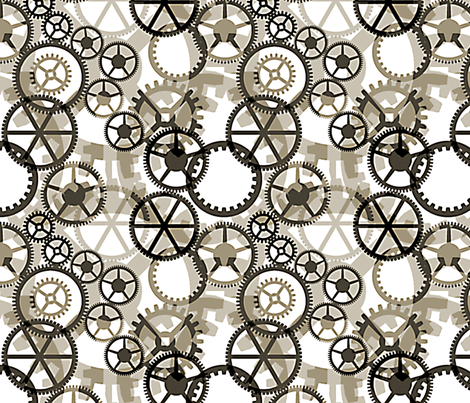 Cogs, Timeless fabric by wiccked on Spoonflower - custom fabric