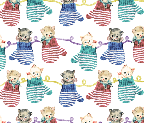 Vintage Kittens in Mittens fabric by joyfulrose on Spoonflower - custom fabric