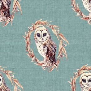 Sooty Owl on Eucalypt Blue Linen