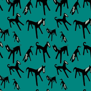 Horsies on teal