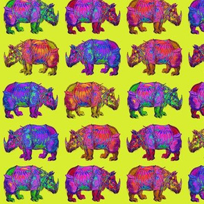 RHINOCEROS PROCESSION on LIME GREEN