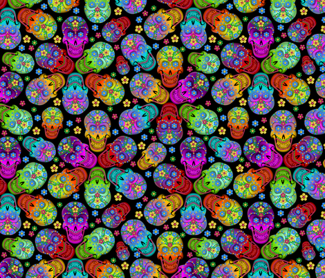 Colorful Calaveras small fabric by glimmericks on Spoonflower - custom fabric
