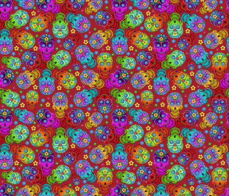 colorful_cavaleras_red fabric by glimmericks on Spoonflower - custom fabric