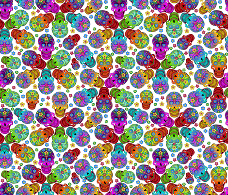 colorful_cavaleras_white fabric by glimmericks on Spoonflower - custom fabric