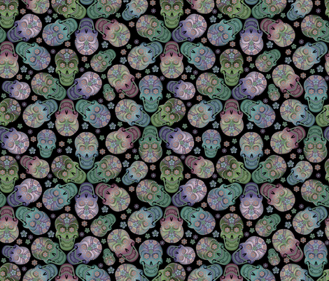 colorful_cavaleras_pastel_black fabric by glimmericks on Spoonflower - custom fabric