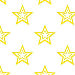 Double Border Yellow Stars on White